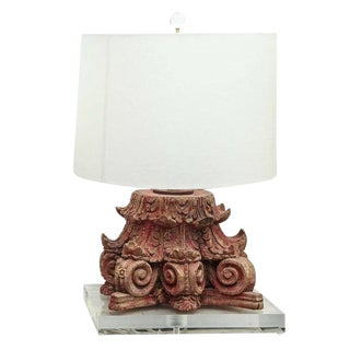 Lamp Fashioned From Carved Capital For Sale