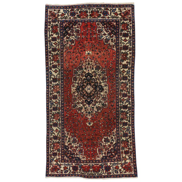 Vintage Mid-Century Jacobean Style Persian Mahal Gallery Rug - 5′1″ × 9′11″ For Sale