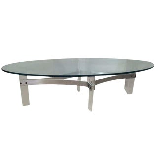 Vintage Lucite Oval Coffee Table For Sale