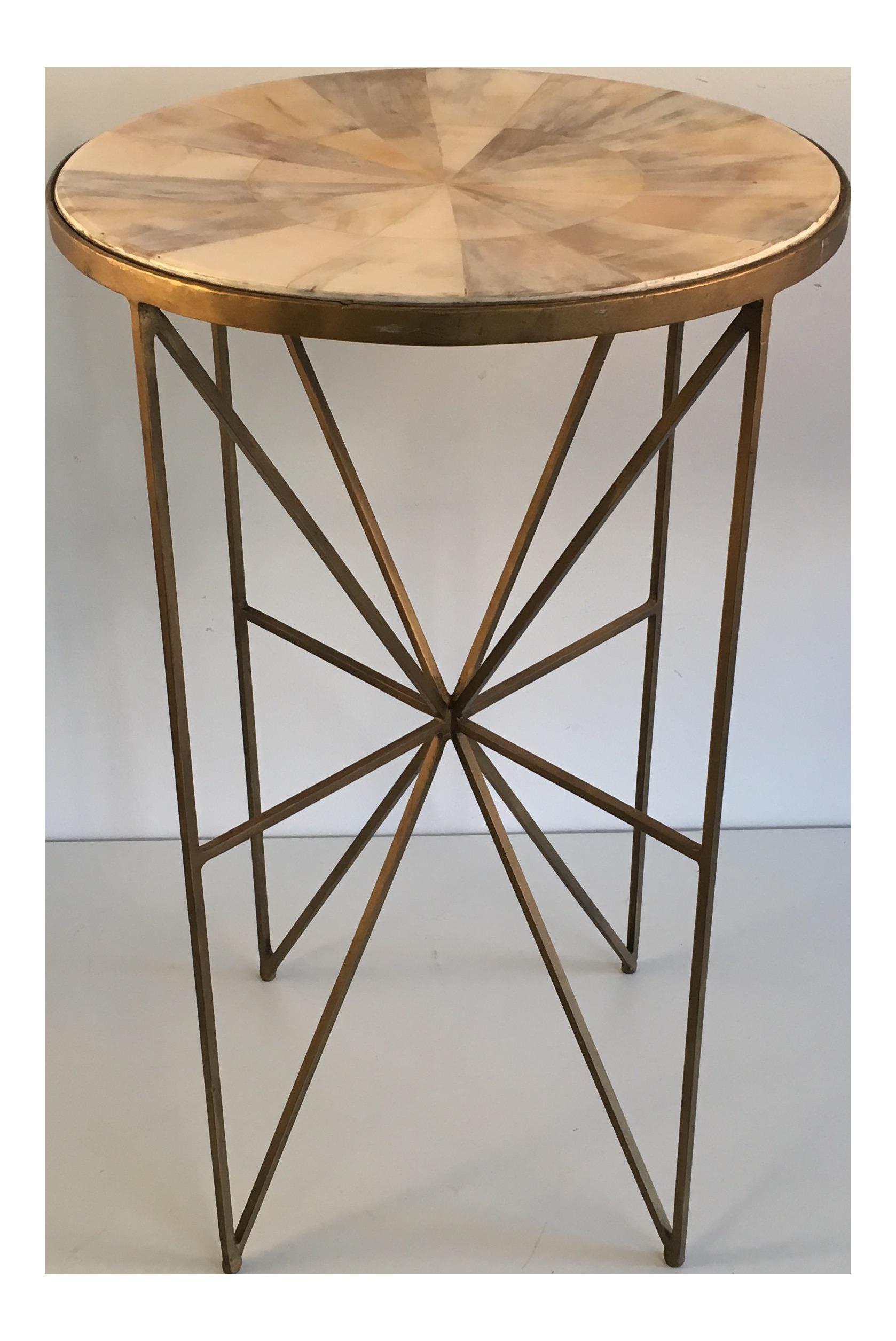 Faux Horn Top U0026 Metal Side Drink Table