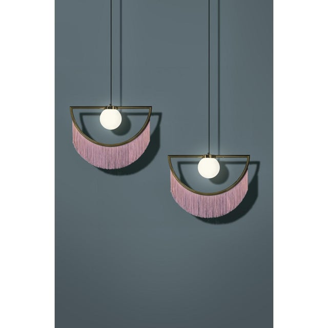 2010s Wink Gold-Plated Floor Lamp Postmodernist Style With Cream Pink Fringes For Sale - Image 5 of 9