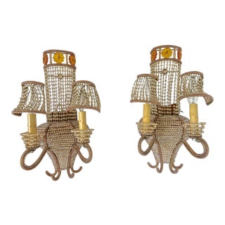 "Beaded Venetian ""Maison Bagues"" Style Large Sconces - A Pair For Sale"