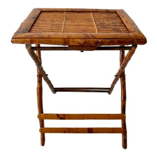 Early 20th Century Burnt Bamboo Folding Table For Sale