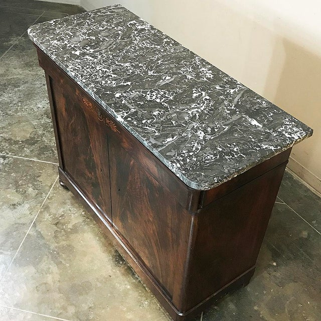 19th Century French Charles X Mahogany Marble Top Buffet For Sale - Image 9 of 13