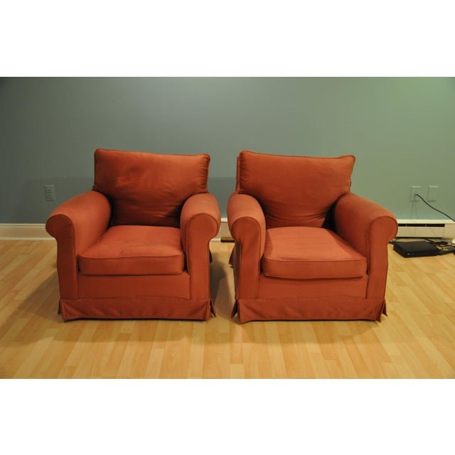 Brick Red Club Chairs - A Pair - Image 3 of 3