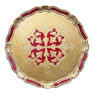 Italian Florentine Gilt Tray For Sale