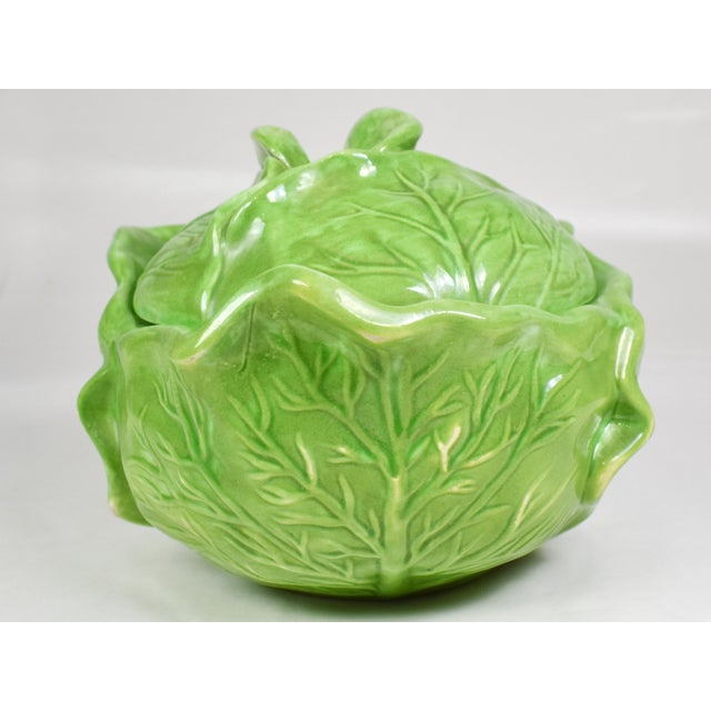 Ceramic Mid-Century Holland Mold Ceramic Lettuce or Cabbage Serving Bowl With Lid For Sale - Image 7 of 12