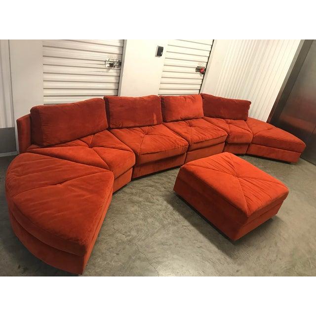 Vintage Retro Rust Velvet Sectional Sofa - Image 7 of 7