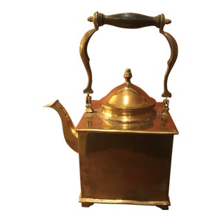 Early 20th Century Vintage Mottahedeh Brass Tea Pot Kettle For Sale
