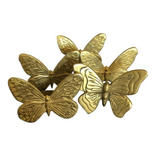 Brass Butterfly Napkin Rings - Set of 5 For Sale