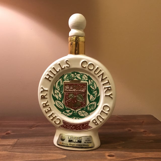 Vintage 1970s Jim Beam Decanter - Cherry Hills Country Club Golden Anniversary Great gift for any golf or whiskey fanatic!