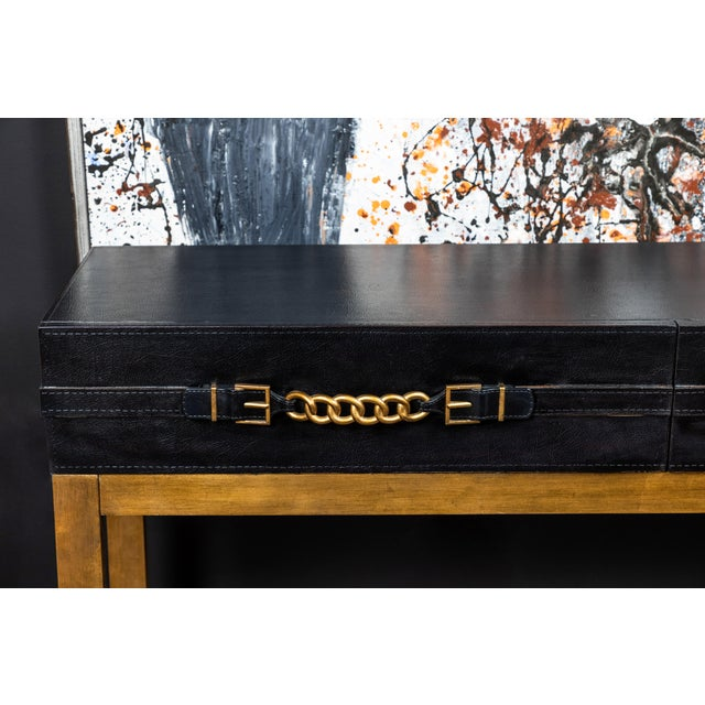 1990s Vintage Leather and Metal Console Table For Sale - Image 5 of 9