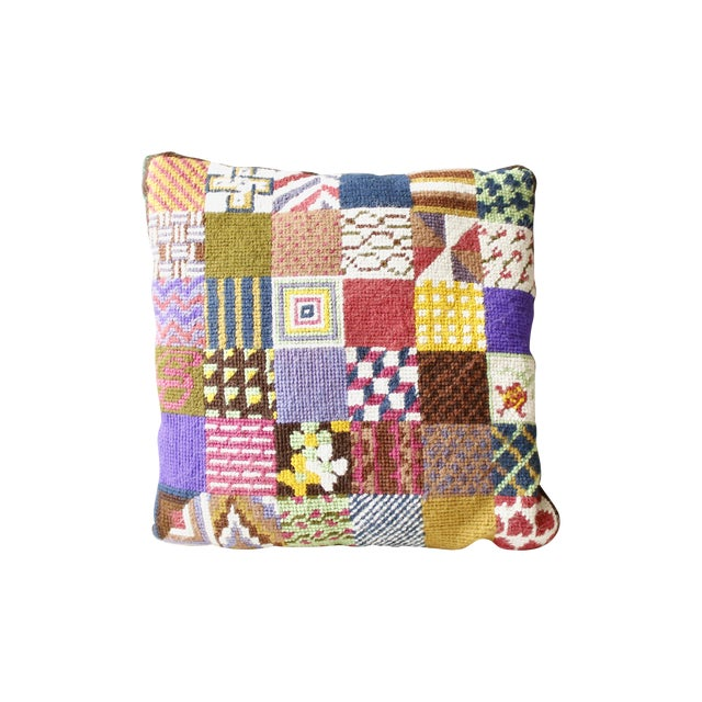 Vintage Patchwork Needlepoint Pillow Flowers - Image 1 of 3