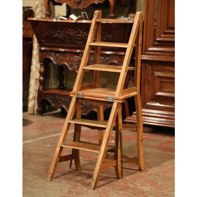 Early 20th Century French Carved Beech Folding Ladder Chair From Provence For Sale - Image 4 of 7