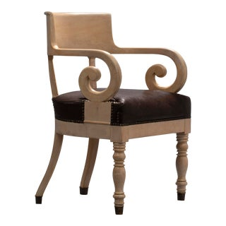 19th Century Swedish Ivory-Glazed Birch, Patinated Leather and Brass Armchair For Sale