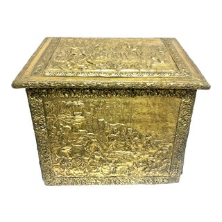 19th Century Antique Brass Covered Firewood Holder For Sale