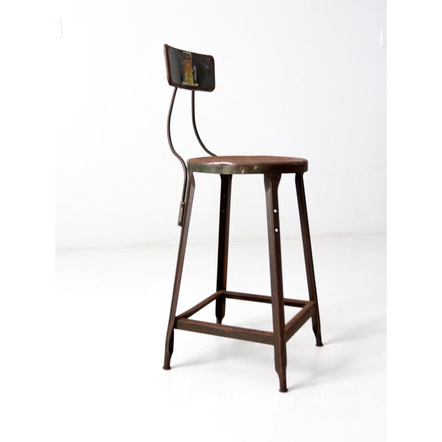 Vintage Industrial Drafting Stool For Sale - Image 6 of 12