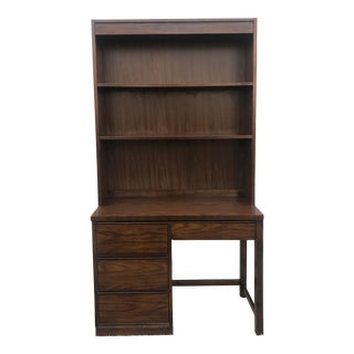 Mid Century Four Drawer Walnut Writing Desk With Shelving For Sale