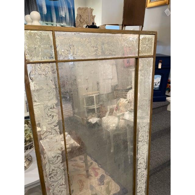 Art Deco Antique 1920s White Gold Leaf Floor Mirror For Sale - Image 3 of 7