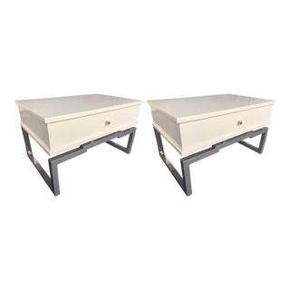 1970s Lacquered and Metal Chrome Side Tables by Mario Sabot-a Pair For Sale