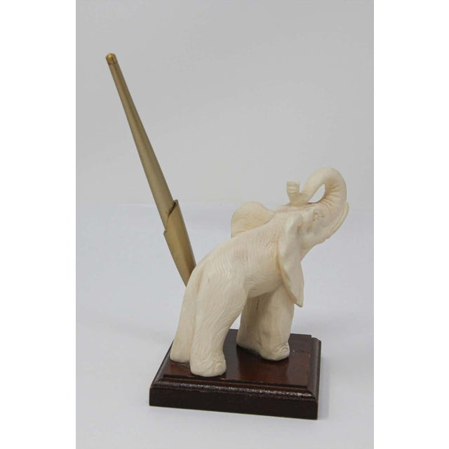 Vintage White Elephant Sculpture Pen Holder For Sale - Image 11 of 13