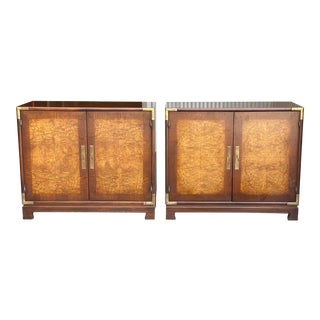 Mid-Century Asian Burl Wood Nightstands - a Pair For Sale