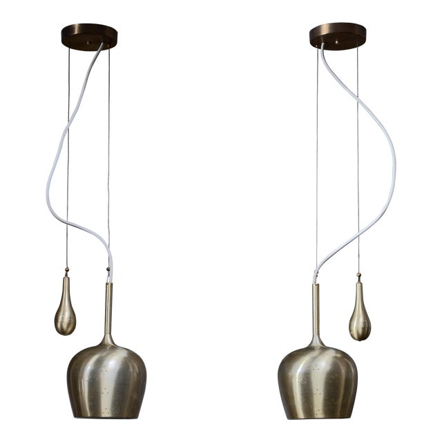 Pair of Paavo Tynell Bell Chandeliers With Counterweight For Sale