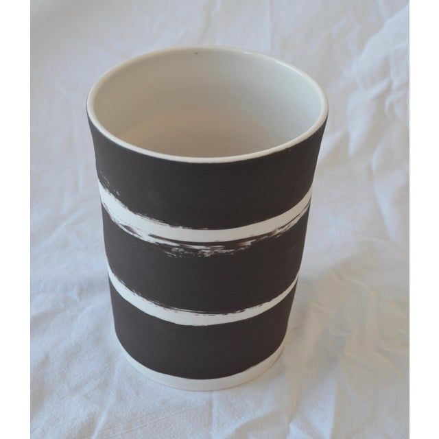 Contemporary Ceramic Striped Cylindrical Vessels - Set of 5 For Sale - Image 10 of 13