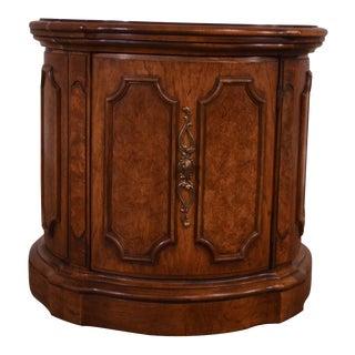 Thomasville Vintage Round Burl Wood Paneled Cabinet Side Table For Sale