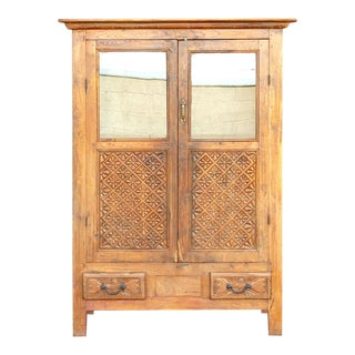 Antique Carved Florette Teak Cabinet For Sale
