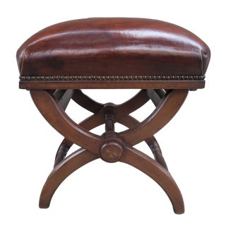 """English """"X"""" Shaped Leather Bench W/Adjustable Knobs For Sale"""