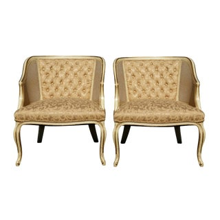 Caned & Tufted Club Chairs - a Pair For Sale