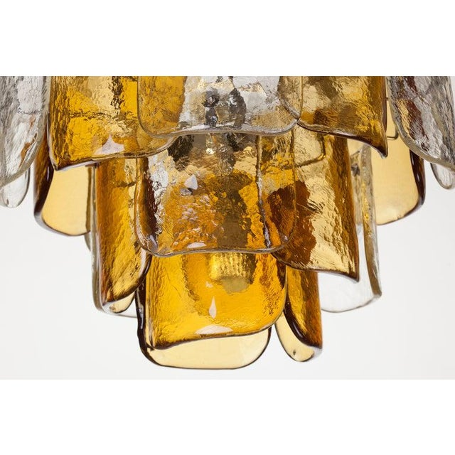 Mid-Century Modern Mazzega Four-Tier Glass Petal Chandelier For Sale - Image 3 of 6