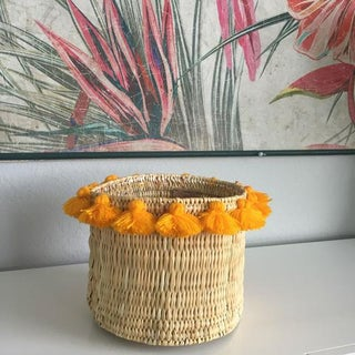 Moroccan Yellow Tassel Large Basket Preview