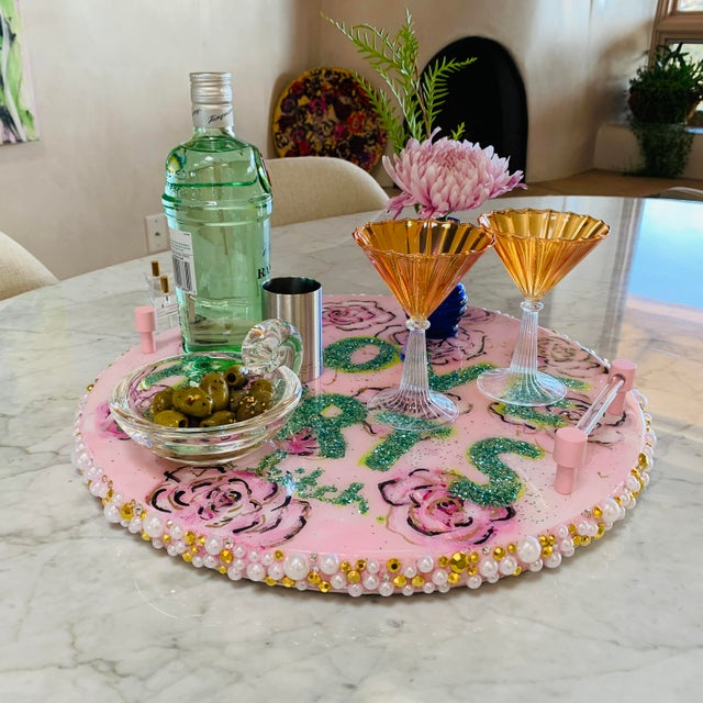 Modern Original Serving Tray With Lucite Stand For Sale - Image 3 of 13