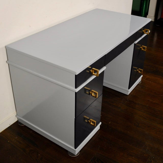 Wood Mid Century Lacquered Double Pedestal Desk For Sale - Image 7 of 10