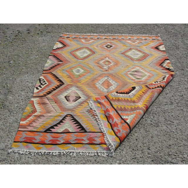 Vintage Turkish Kilim Rug - 5′5″ × 7′10 For Sale - Image 10 of 11