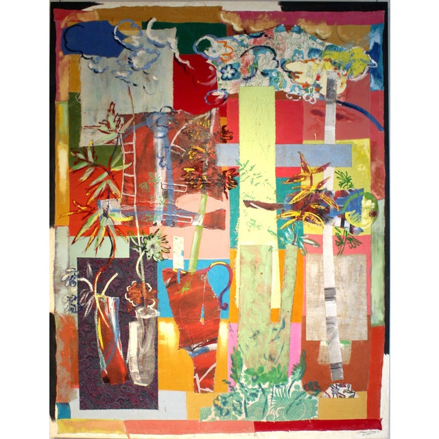 Large multi-media painting by French-American artist Jacques Lamy comprised of found fabric and materials and hand-painted...