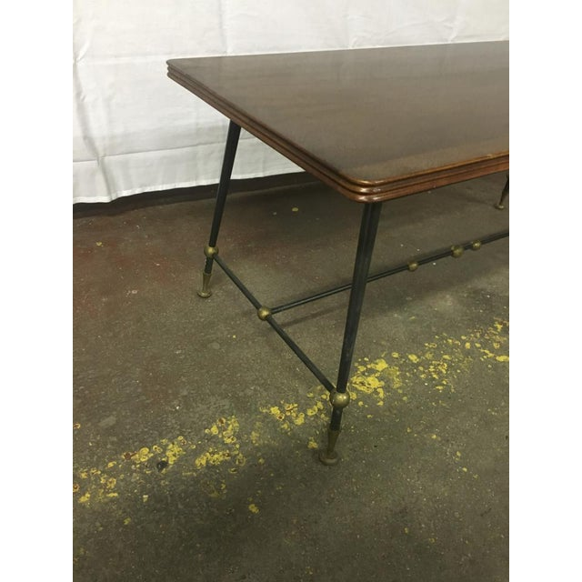 Contemporary Jules Leleu Stamped Coffee Table With Wrought Iron Base For Sale - Image 3 of 5