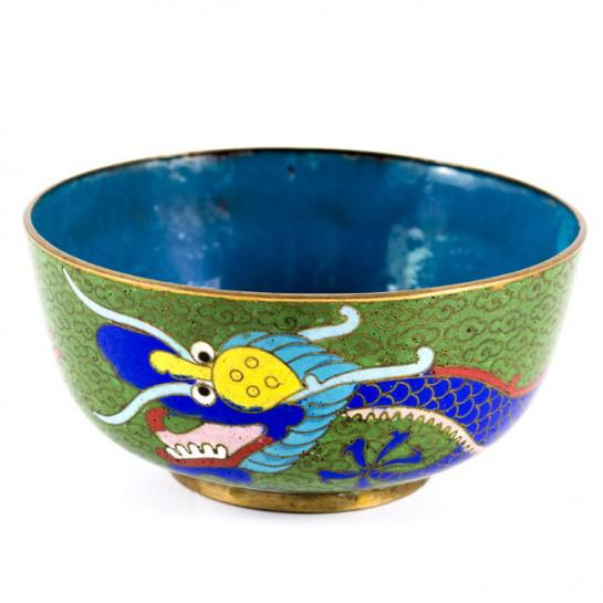 19th Century Antique Chinese Cloisonne Dragon Bowl For Sale - Image 11 of 11