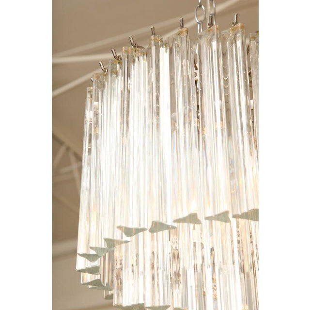 Glass Italian Murano Spiral Crystal Glass Prism Chandelier by Venini For Sale - Image 7 of 8