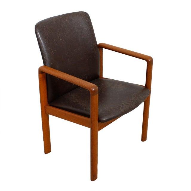 Danish Modern Danish Modern Teak & Distressed Leather Arm Chair For Sale - Image 3 of 7