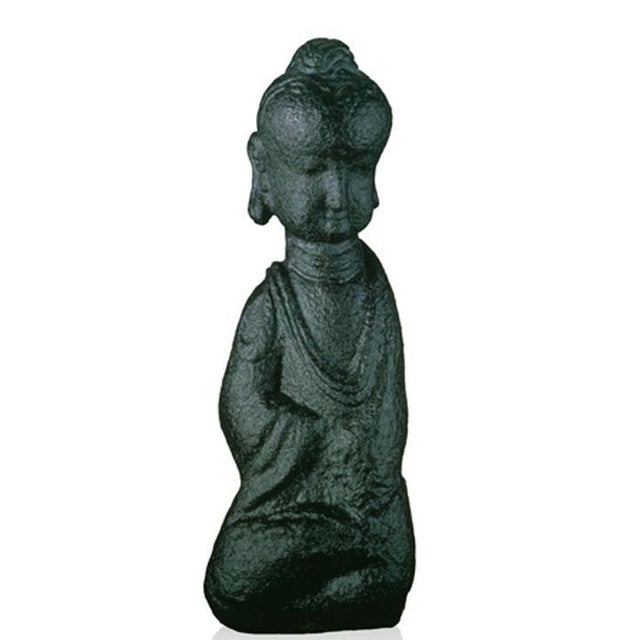 """Contemporary Crystal """"Free Mind in Weal or Woe"""" Buddha Figurine in Green & Purple For Sale - Image 3 of 3"""