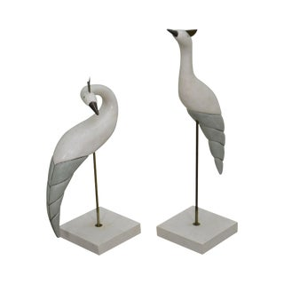 Tessellated Stone & Brass Handmade Pair of Bird Sculptures (Possibly Maitland Smith) For Sale