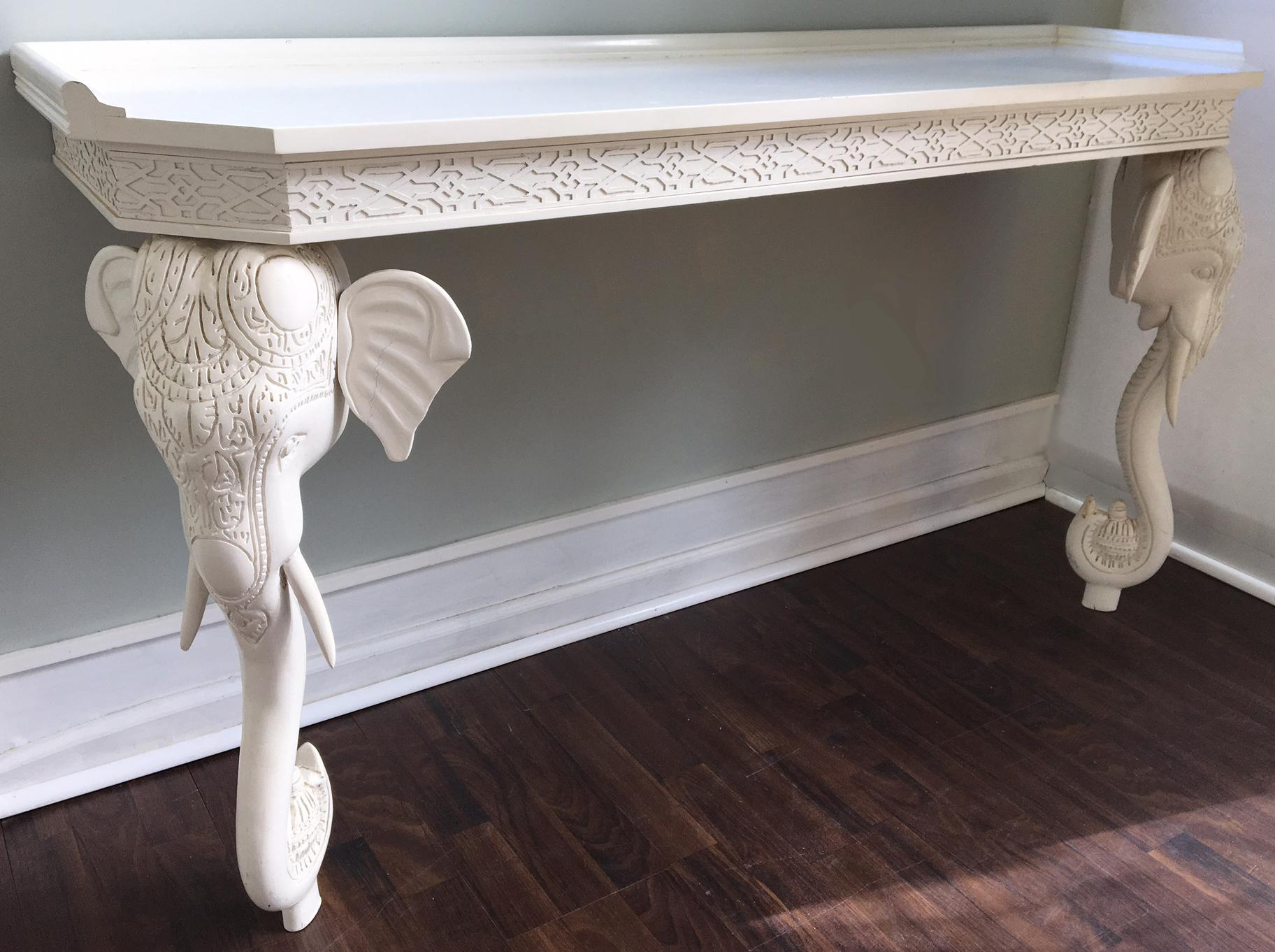 GampelStoll Sculptural Carved Elephant Console Table Chairish