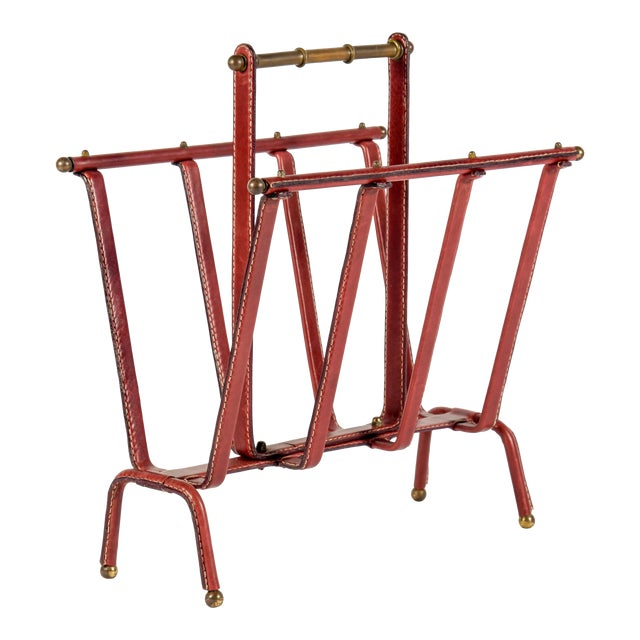 1950s Stitched Leather Magazine Rack by Jacques Adnet For Sale