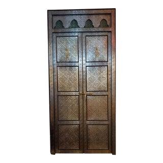 Moroccan Metal Inlaid, Silver Finish Rabat Door For Sale