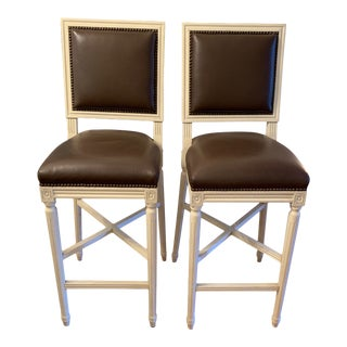 Modern Custom Cream Wood & Brown Leather Bar Stools - a Pair For Sale