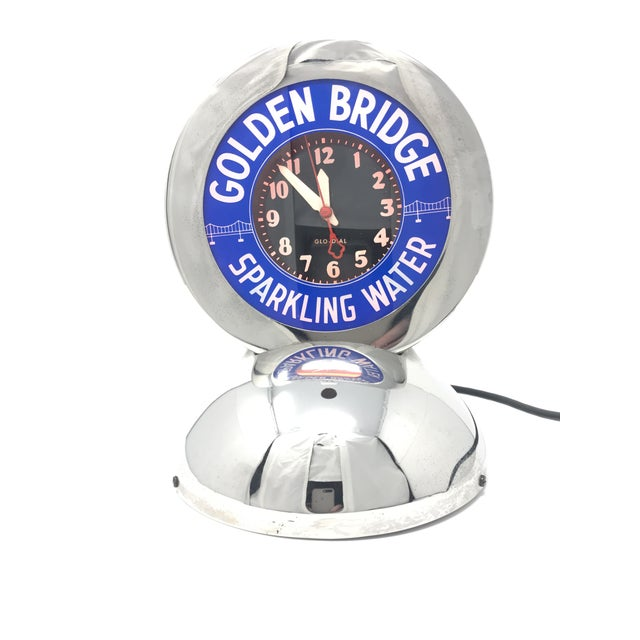 "1930s Art Deco Neon Glo-Dial ""Golden Bridge Sparkling Water"" Advertising Clock For Sale - Image 5 of 11"