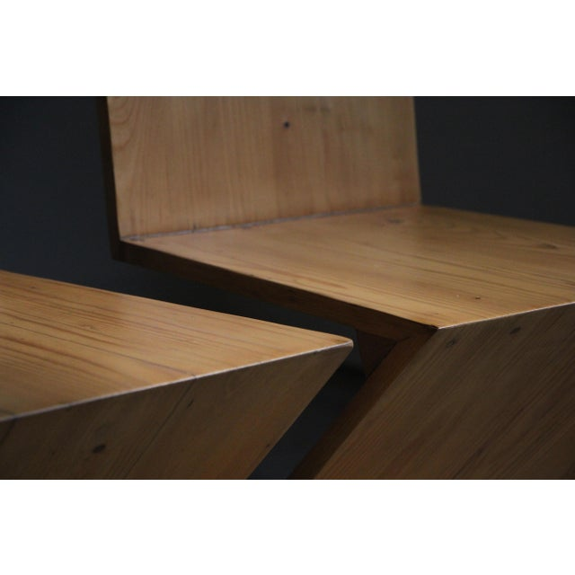Vintage Gerrit Rietveld Style Zig Zag Chairs - a Pair For Sale - Image 10 of 13